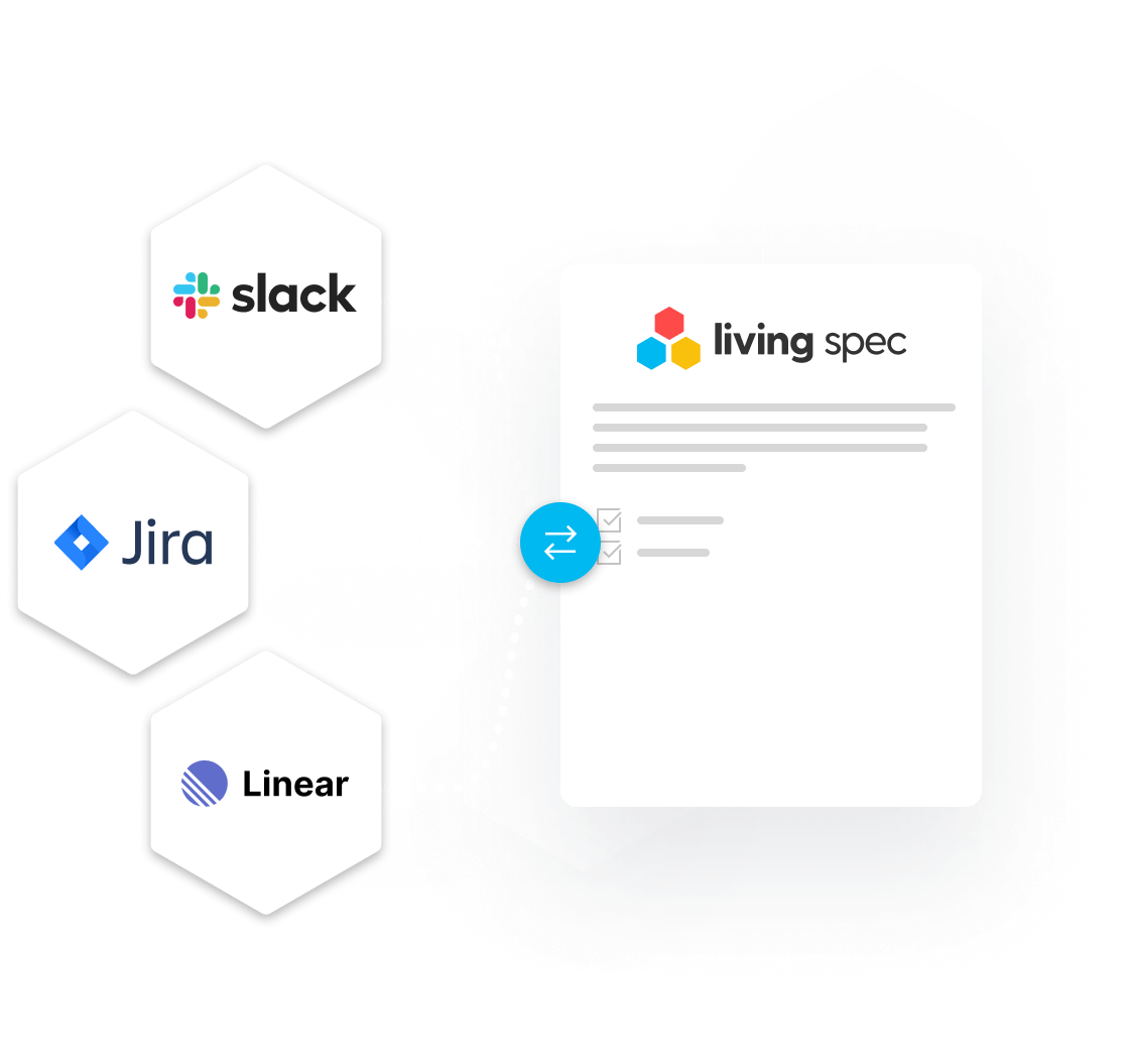 view of slack integration to copy message content into a Living Spec task